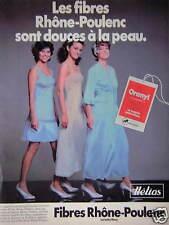 PUBLICITÉ 1981 HÉLIOS LES FIBRES RHÖNE-POULENC DOUCES A LA PEAU - ADVERTISING
