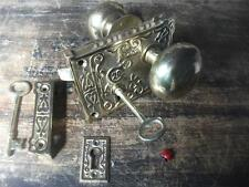 fancy ornate brass rim lock & knob set   victorian style bathroom latch