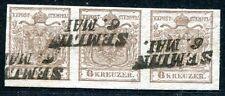 ÖSTERREICH 1850 4X graubraun im STREIFEN gest BEFUND FERCHENBAUER 650€(S7452