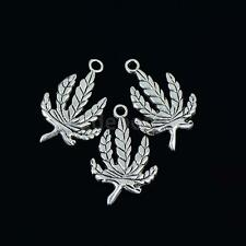 30Pcs Tibet Silver Medical Marijuana Pot Leaf Charm Pendants Jewelry Finding