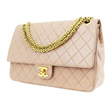 Auth CHANEL CC Matelasse Double Flap Quilted Chain Shoulder Bag Leather 98U188