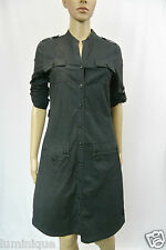 **MARCS** Black Button Down Shirt Dress Belt 6 8 10 S Stripe Top Pocket Skirt