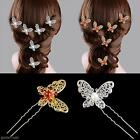 Women Girl Bride Butterfly Rhinestone Pearl Barrette Hairpin Hair Clip Accessory