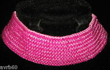 beaded choker in sparkly pink or blue beaded fabric new