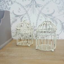 Cream Baby Bird Cage Candle Holders In Shabby Chic French Vintage Style