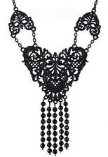 RESTYLE Gothic Steampunk Black Beads Chain Pendant Necklace CHOKER : Black Lace