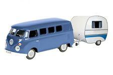 SCHUCO VW T 1 BUS  MIT WOHNWAGEN blau / weiß  26105  EDITION 1:87