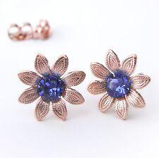 NEU rosegold BLÜTEN OHRSTECKER 5mm SWAROVSKI STEINE saphir/blau OHRRINGE Blume