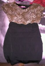 Woman's black and animal print evening dress size large