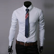 Mens Luxury Stylish Slim Fit T-shirt Long Sleeve Casual Tops Formal Dress Shirts