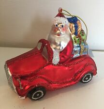 Gisela Graham Glass Christmas Retro Santa & Car Tree Decoration Glittered