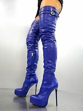 CQ COUTURE PLATFORM CUSTOM OVERKNEE BOOTS STIEFEL STIVALI LEATHER BLUE BLU 37
