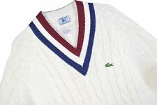 MENS L VTG 70s Izod Lacoste Sweater Tennis Cricket Cable Knit V Neck Prep Jumper