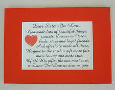 Rare Gift LOVING TRUE SISTER IN LAW God Made Loyal FRIEND poems verses plaques