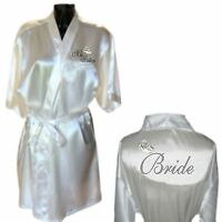 Personalised Silver / Platinum Wedding Ring Satin Wedding Robe / Dressing Gown
