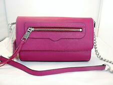 Rebecca Minkoff Avery Envelope Crossbody / Clutch Bag in magenta MSRP 195.00
