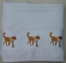 NOVA SCOTIA DUCK TOLLING RETRIEVER DOG large hand guest towel Sandra Coen print