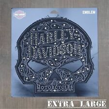 Harley Davidson Authentic Patch - Ornate & Distressed Skull - Extra Large Emblem