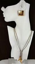 Vtg Jewelry Set Necklace Earrings Gold/SilverTone Bijoux Terner Glass Bead#4092