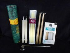 Junk Drawer Lot of Taper Candles Snuffer Matches Emergency Gold White Ivory