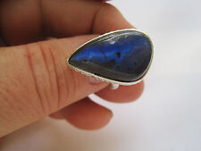 Stunning Sterling Silver Ring with Labradorite Stone, Size 7,75