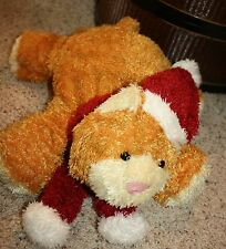 "KURT ADLER Plush Floppy Orange Cat Kitten Santa Hat Sparkly   16"" Holiday  C5"