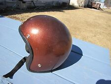 VINTAGE 1971 DOT ROOT BEER BROWN METAL FLAKE MOTORCYCLE BOBBER HELMET SZ MEDIUM