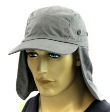 Sun Cap Ear Flap Neck Cover hat Sun Protector Fishing Hunting Hiking- Light Gray