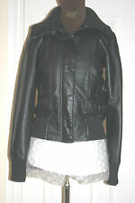 BLACK Faux Leather Cuir PU JACKET Vegan Size uk12 eu40 us8 Chest c35ins c89cms