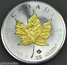 New Gold Gilded 2016 Canadian Maple Leaf 1 oz Silver Coin .999 Fine w/ 24k Gold