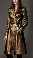 NWT BURBERRY LONDON $8750 WOMENS EYELET DETAIL  LEATHER TRENCH COAT US 4 EU 38