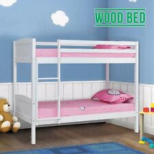 Children White Pine Wood Double Single Bunk Bed Frame Splits Into 2 Single Beds