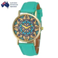 NEW Women Totem Vintage Green Leather Strap Casual Quartz Watch Wristwatch