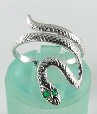 ENGLISH  9CT WHITE GOLD SNAKE EMERALD EYES COILED RING
