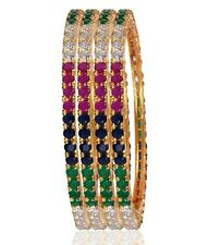 Gold Plated multi cz Ethnic Bollywood Indian Bridal Bangles Bracelet 4 pic +njj