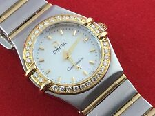 OMEGA CONSTELLATION QUARTZ 18K W/DIAMONDS 23 mm STAINLESS SLEEL LADY WATCH