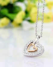 DOUBLE HEART SPARKLING DIAMONDS LOVE WEDDING NECKLACE RHODIUM PLATED PENDANT 17