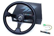 "NRG 350MM 3""DEEP DISH 6-HOLES STEERING WHEEL BLACK LEATHER CARBON FIBER SPOKE"