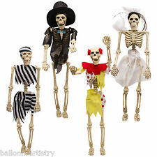 "4 Assorted Gothic Halloween 16"" Skeleton Bride Clown Hanging Prop Decorations"