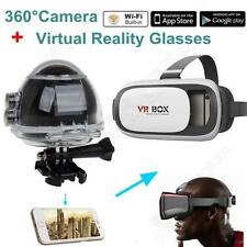 360 Degree WiFi Panoramic Video Camera 4K 16MP 3D Sports Camcorder+VR GLASSES