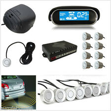 12V Silver 8 Sensors Parking Car Reverse Radar Alert System Buzzer Dual-Core Kit