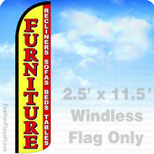 2.5x11.5' WINDLESS Swooper Feather Flag Sign - FURNITURE RECLINERS SOFA BEDS yz