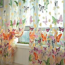 Floral Butterfly Sheers Curtains Voile Tulle Window Door Curtain Scarf Valance