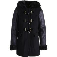 BRAND NEW JUICY COUTURE WOMEN BLACK SHEARLING FUR HOODED DUFFLE COAT XS