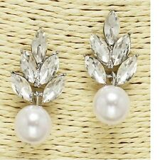 Silver Faux Pearl and Crystal FASHION Earrings