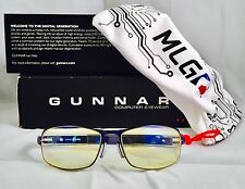 Gunnar Computer Gaming Glasses MLG Phantom Freeze Blue w/ Amber Zeiss Optics New