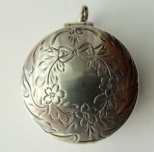 ANTIQUE WEBSTER STERLING SILVER CHATELAINE PENDANT COMPACT PATCH BOX W MIRROR