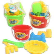 6-Piece Beach Pail & Sand Toy Set- Bucket, Shovel, Sifter, Rake, Mold, Sail Boat