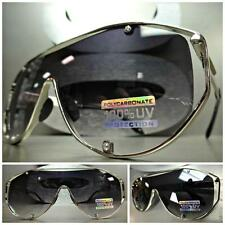 HUGE OVERSIZE VINTAGE RETRO SHIELD Style SUN GLASSES Chrome Metal Frame Flat Top