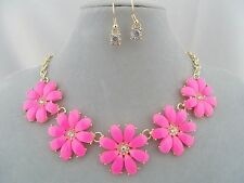 Bright Pink Flower Daisy Necklace Set Gold Crystal Fashion Jewelry NEW